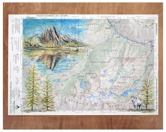 The Enchantments, WA Mountain art painting illustration, Washington mountain print, mountain goat, yellow larch wilderness mountain map art