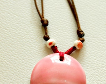 Face Pendant, Hand Painted In Pink, White And Green Ceramic Pendant Necklace