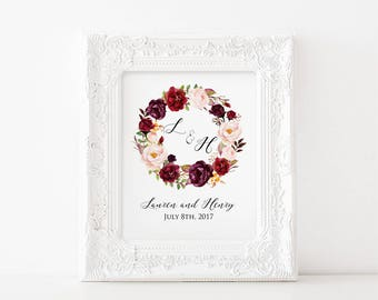 Burgundy Rose Wreath Wedding Name Template, Printable Floral Wreath Name Sign, Gift for Couple Newlyweds, DIY PDF Instant Download #101