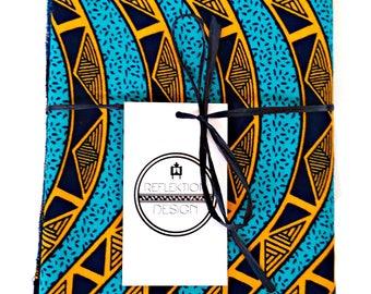 Teal Turquoise Orange Black African Print Fabric Ankara Head Wrap | 100% Cotton