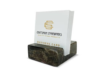 Square Business Card Holder - Emperador Dark Brown Marble - Office Desk Home, Desk Accessory, Recycled Marble