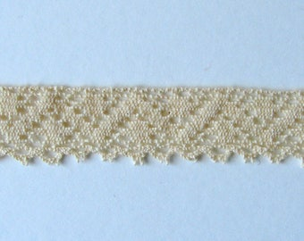 Lace Ribbon, 18 mm ecru cotton, sold by the yard.