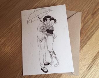 Rockabilly, Pin Up, Greeting Card, Art Print 'Romance in the Rain' *Free UK postage*
