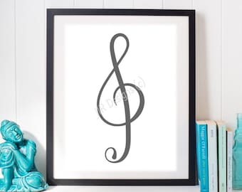 Grey Treble Clef Digital Print - Instant Download