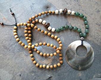 Mala Necklace - 108 Mala, Hand Knotted Gemstone, Bone & Wood Mala - Green Aventurine - Chakra, Yoga, Metaphysical, Spiritual Jewelry