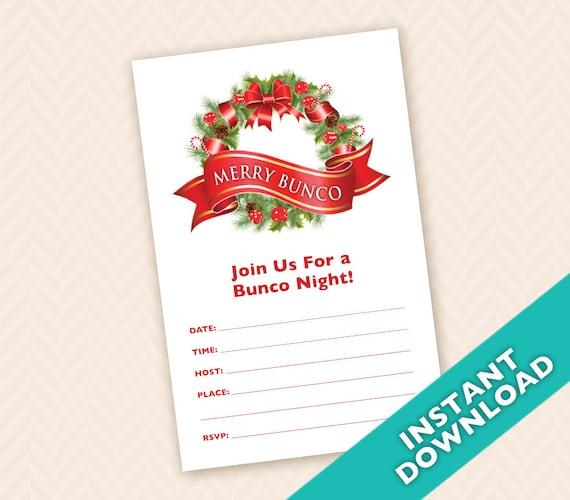 Downloadable Christmas Bunco Invitation aka Bunko score