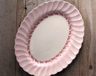 Myott Staffordshire Olde Chelsea Pink White Serving Platter England