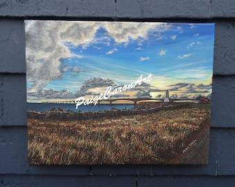Confederation Bridge Sunset, PEI - Original Acrylic Painting on Canvas 11x14