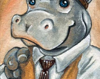 Hippopotamus Art, Hippo Print, Steam Punk Goggles, Zoo Animal Illustration, Steampunk Decor, ACEO Card, Large Wall Art, Animal Lover Gift