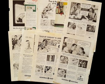 1940s GE Appliance Ads/Vintage Epherma/Vintage Ads/Junk Journal/Collectible/Paper Destash/Collage/Scrapbooking