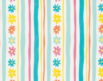 Daisy Stripe - Aqua - Pandas by David Walker from Free Spirit - Floral Fabrics - Fabric by the Yard - David Walker Fabrics - Daisy Fabrics
