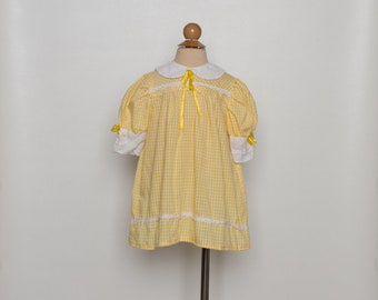 vintage 1970s toddler girl's dress | 70s yellow gingham dress