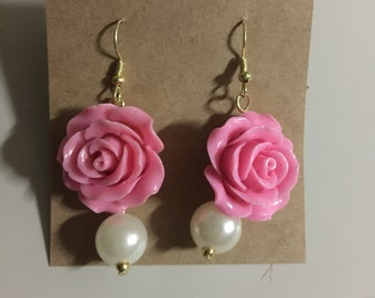 Flower and Pearl Chandelier Earrings