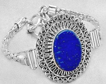 Sterling Silver and Blue Lapis Lazuli Bracelet