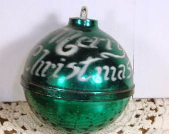 Vintage Stenciled Christmas Ornament, Mid Century Holiday Decor, Decoration, Merry Christmas, Plastic   (62-14)