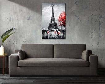 Printed Canvas Picture Art Paris France Eiffel Tower Stretcher Frame Strips Included - Free Shipping - Home Decor Photography