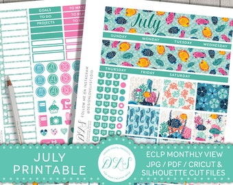 July Monthly View Stickers, fits Erin Condren, July Monthly Stickers, July Planner Kit, Planner Stickers July, July Monthly Spread, MV127