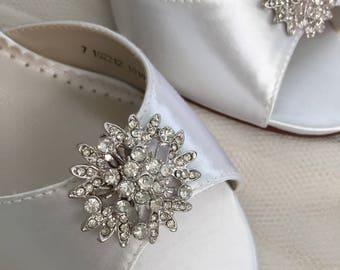 Sale Wedding Shoes  Clips - Crystal Wedding Shoes -Bridal Shoe Clips - Wedding Shoes - Wedding Heels - Shoe Clips -Petite Wedding Shoe Clips