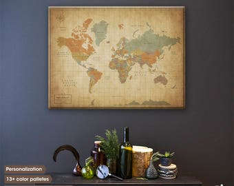 World map push pin / Vintage Push Pin map / Push pin travel map / World map canvas / World map wall art / Gifts for travelers