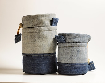 Camera Lens Case/Pouch/Bag/Sleeve/Protector/Cozy | Padded Denim | Medium / Small | DSLR, Point and Shoot