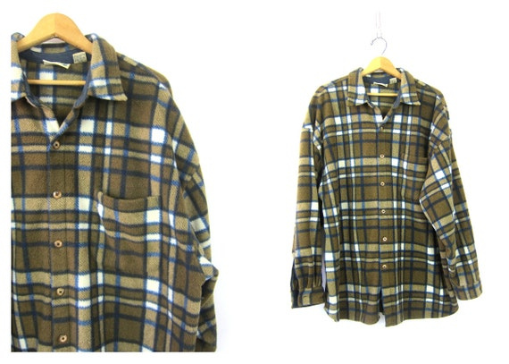 Brown 90s Fleece Shirt Oversized Long Shirt Jacket Plaid Flannel Blanket Coat Button Up Slouchy Sweater Hunting Shirt Mens Size XL