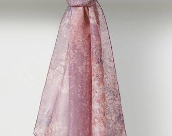 Jacaranda Louis Jane Pure Silk Scarf in Mauve Grey Pinks