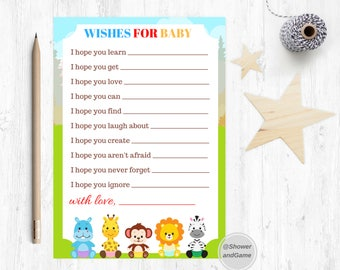 Baby Shower Baby Wishes for Baby Game Zoo | Animals Baby Shower Wishes for Baby  | Animal Wishes for Baby