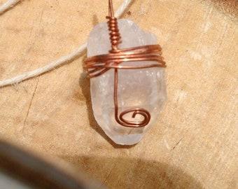 Quartz Copper Twirl Pendant