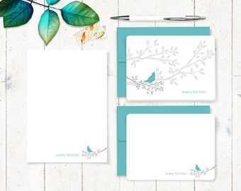 complete personalized stationery set - BIRD ON BRANCH - personalized stationary set - note cards - notepad - nature lover gift set
