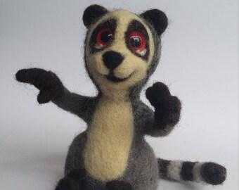 Lemur, made in needle felting tehnique,handmade toy.