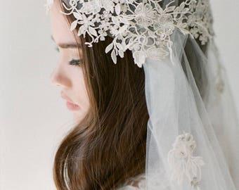 Bridal boho veil-Juliet cap veil- Lace Silver flower bridal veil-Swarovski crystal veil-fingertip veil- wedding veil-blusher- style 106