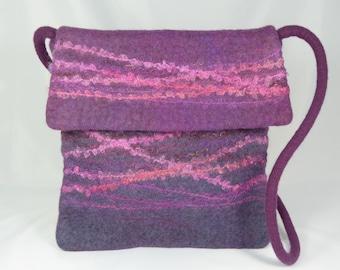 Purple Wool Felt Messenger Bag, Felt Cross Body Bag, Felt Handbag, Felt Purse, Messenger Bag Women, Cross Body Bag,Felted Wool Bags,Hobo Bag