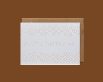 Folk Lines Geometric Letterpress Happy Birthday Card