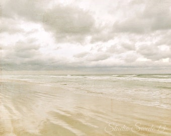"Beach Photo, Ocean Photography, Florida Beach Storm Print, Beige Neutral Art, Ocean Landscape, Nature Clouds, Seascape- ""Storm Warning"""