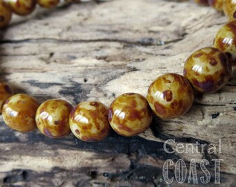 8mm Milky Opaque Champagne Opalite Golden Brown Picasso Czech Glass Bead Round Druk - 25 pcs - Shabby Bohemian Style - Central Coast Charms