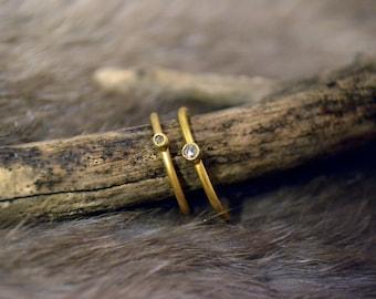 Large Champagne Diamond Ring- 24k Gold
