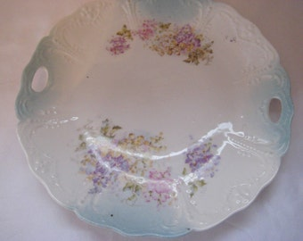 Decorative display plate, hanging plate, collectible plate, floral lilac plate, pale blue, raised texture, shabby cottage chic decor