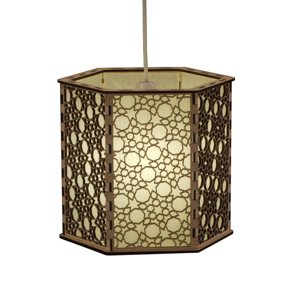 Moroccan Fretwork Panels: Moroccan Style Wooden Fretwork Lampshade Tangier