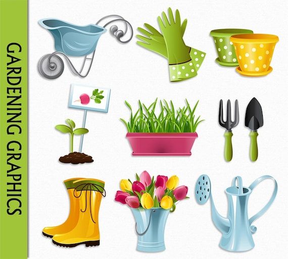 Gardening clipart flowers clip art graphic digital scrapbook for Gardening tools used in planting crossword clue