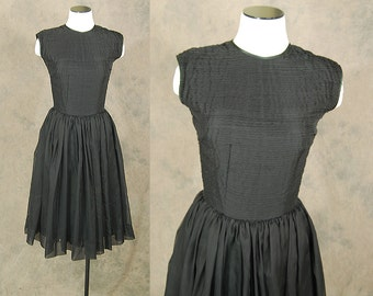 vintage 50s Dress - Pleated Top Dress 1950s Black Cocktail Dress Formal Dress Sz S