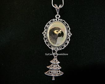 African Grey Parrot Cameo Pendant Charm Necklace Art Jewelry SylCameoJewelsStore