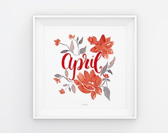 April lettering with watercolor flowers, download, print template, printable, 21 x 21 cm, calendar, square, painting, seasonal