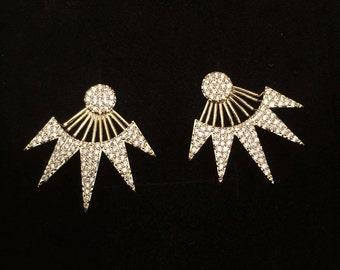 Ear jackets climbers, EarJacket, bridesmaid earrings, Zirconia, 24K gold plated earing. wedding earings, ear jackets, Gift for her, Gifts