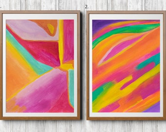 Abstract Painting Acrylic Painting Pink Red Original Abstract Art Wall Art on Paper Set of 2 Paintings Wall Art Colorful Wall Decor