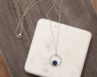 Druzy Circle Necklace | Sterling Silver
