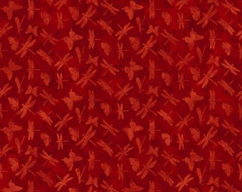 Artisan Spirit Nature Studies Dragonflies Deborah Edwards from Northcott Cotton Quilt Fabric 21026 24 Red - By the Yard - Free shipping U.S.