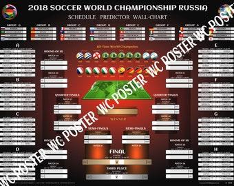 "2018 FIFA World Cup Schedule Predictor Wall-chart. Buy 2 Get 1 FREE! Soccer Russia 2018 Bracket Poster. Mundial Futbol Scorecard. 18""x 24"""