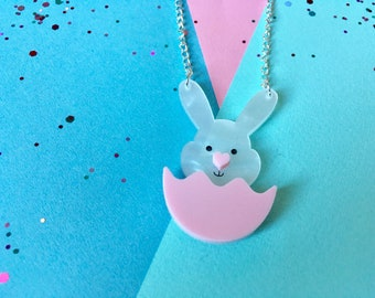 Rabbit Necklace, Bunny Necklace, Rabbit Lover Gift, Rabbit Jewellery, Bunny Jewellery, Spring Gifts, Pink Necklace, Rabbit Gift, Cute