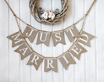 just married banner, just married sign, rustic wedding banner,just married burlap banner,just married banner, rustic wedding sign