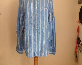 Linen Shirt Mens Button Down Striped Oxford Large